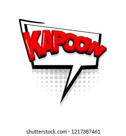 Kapow comic text collection sound effects pop art style. Set vector speech bubble with word and short phrase cartoon expression illustration. Comics book red colored background template.
