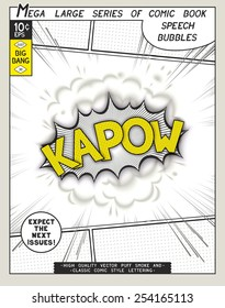 Kapow. Explosion in comic style with lettering and realistic puffs smoke. 3D vector pop art speech bubble