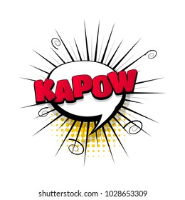 kapow hand drawn pictures effects. Template comics speech bubble halftone dot background. Pop art style. Comic dialog cloud, text pop-art. Creative idea conversation sketch explosion.