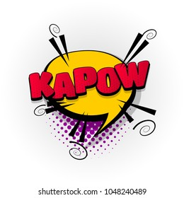 kapow hand drawn pictures effects. Template comics speech bubble halftone dot background. Pop art style. Comic dialog cloud, space text pop-art. Creative idea conversation sketch explosion.