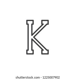 Kappa letter outline icon. linear style sign for mobile concept and web design. Greek alphabet symbol simple line vector icon. Symbol, logo illustration. Pixel perfect vector graphics