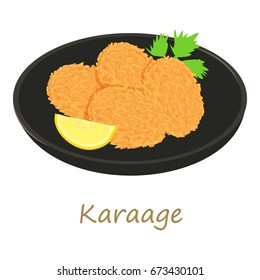 Karaage icon. Cartoon illustration of karaage vector icon for web isolated on white background