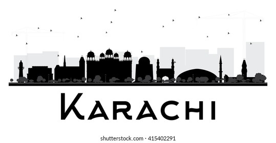 Karachi City skyline black and white silhouette. Vector illustration.