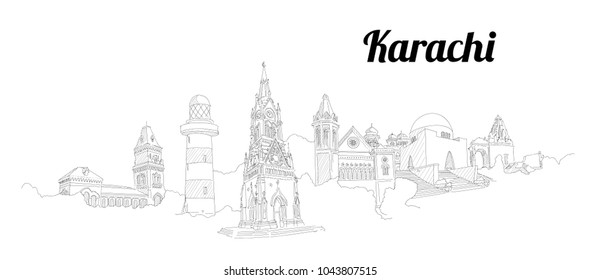 KARACHI city vector panoramic hand drawing illustration