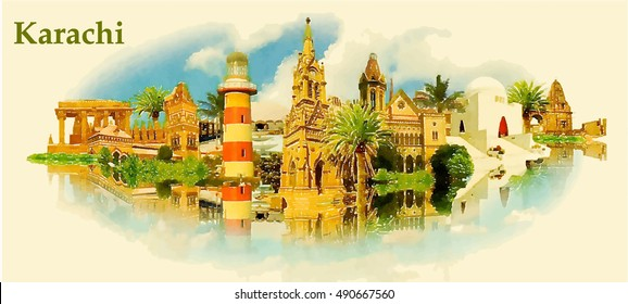 KARACHI city water color vector panoramic illustration