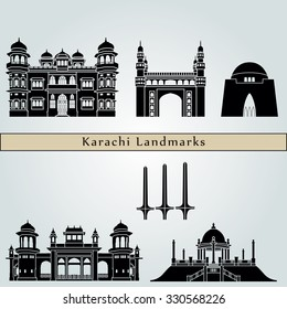 Karachi landmarks and monuments isolated on blue background in editable vector file