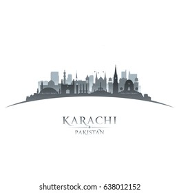 Karachi Pakistan city skyline silhouette. Vector illustration