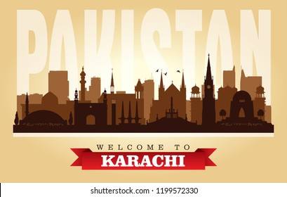 Karachi Pakistan city skyline vector silhouette illustration