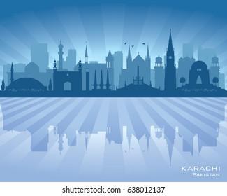 Karachi Pakistan city skyline vector silhouette illustration