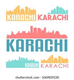 Karachi Pakistan Flat Icon Skyline Vector Silhouette Design Set