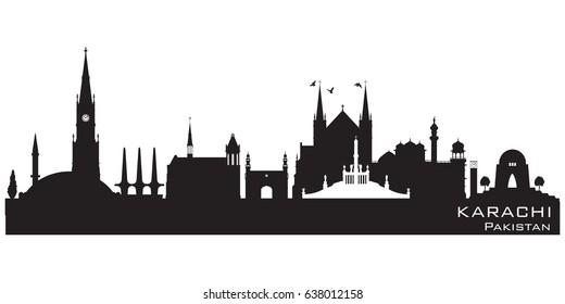 Karachi Pakistan skyline Detailed vector silhouette