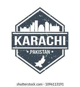 Karachi Pakistan Travel Stamp Icon Skyline City Design Tourism