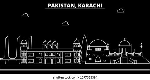 Karachi silhouette skyline. Pakistan - Karachi vector city, pakistani linear architecture, buildings. Karachi travel illustration, outline landmarks. Pakistan flat icon, pakistani line banner