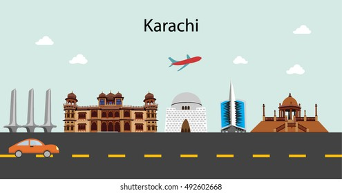 Karachi skyline in blue background in editable vector file