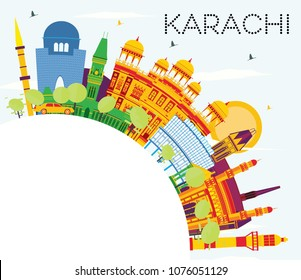 Karachi Skyline with Color Landmarks, Blue Sky and Copy Space. Vector Illustration. Business Travel and Tourism Concept with Historic Buildings. Karachi Cityscape with Landmarks.