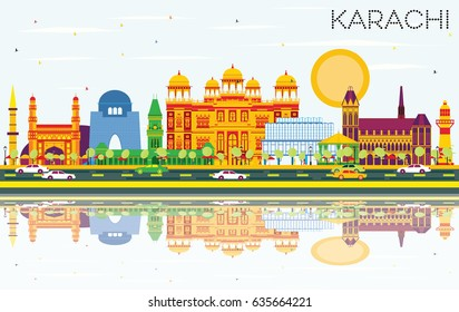 Karachi Skyline with Color Landmarks, Blue Sky and Reflections. Vector Illustration. Business Travel and Tourism Concept with Historic Buildings. Image for Presentation Banner Placard and Web Site.