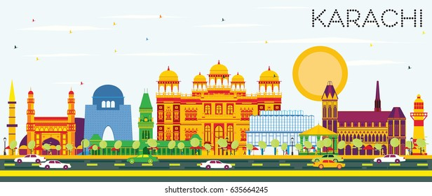 Karachi Skyline with Color Landmarks and Blue Sky. Vector Illustration. Business Travel and Tourism Concept with Historic Buildings. Image for Presentation Banner Placard and Web Site.