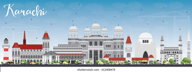 Karachi Skyline with Gray Landmarks and Blue Sky. Vector Illustration. Business Travel and Tourism Concept with Historic Buildings. Image for Presentation Banner Placard and Web Site.
