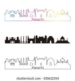 Karachi skyline linear style with rainbow in editable vector file
