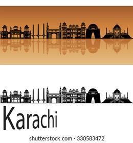 Karachi skyline in orange background in editable vector file
