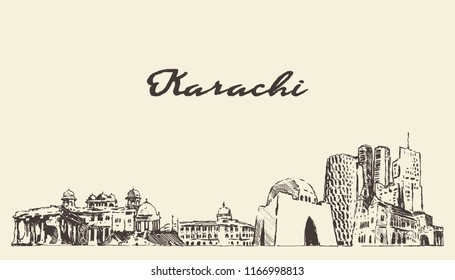 Karachi skyline, Pakistan, hand drawn vector illustration, sketch