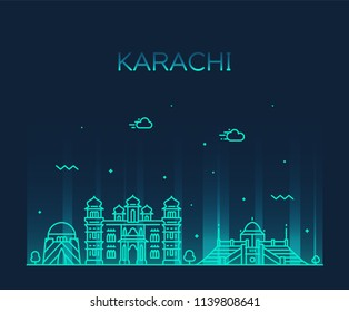 Karachi skyline, Pakistan. Trendy vector illustration, linear style