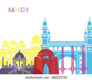 Karachi skyline pop in editable vector file