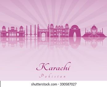 Karachi skyline in purple radiant orchid in editable vector file