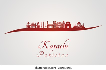 Karachi skyline in red and gray background in editable vector file