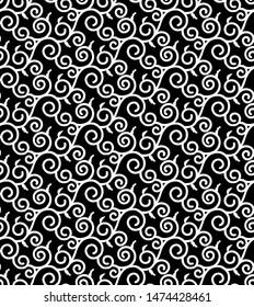 Karakusa Japanese traditional black and white pattern. Winding plant seamless decorative background.