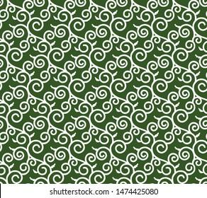 Karakusa Japanese traditional pattern. Winding plant seamless green decorative background.