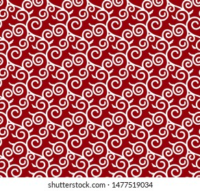 Karakusa Japanese traditional red and white color pattern. Winding plant seamless decorative background.