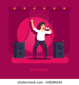 Karaoke. Character design. Flat vector illustration.