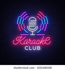 Karaoke Club Logo in Neon Style. Neon sign, bright nightly neon advertising Karaoke. Light banner, bright night billboard. Vector illustration