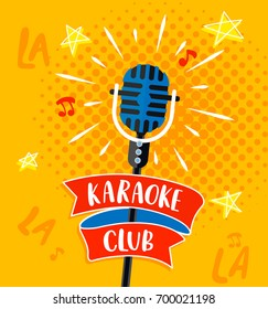 Karaoke club symbol, logo or emblem with lettering. Vector illustration.