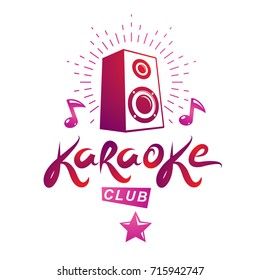 Karaoke club vector emblem created using musical notes and subwoofer discotheque amplifier, design elements for karaoke club flyers cover design.