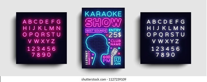 Karaoke design poster vector. Karaoke Party Design Template Flyer, Neon Style, Karaoke Show brochure, Neon Banner, Light Flyer, Concert Invitation, Live Music. Vector. Editing text neon sign