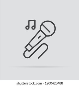 Karaoke icon in flat style isolated on grey background. For your design, logo. Vector illustration.