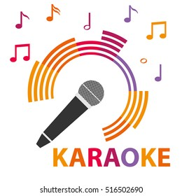 Karaoke icon, karaoke microphone, mic, icon microphone. Flat design, vector.