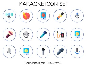 karaoke icon set. 15 flat karaoke icons.  Simple modern icons about  - microphone, singing, event, mic