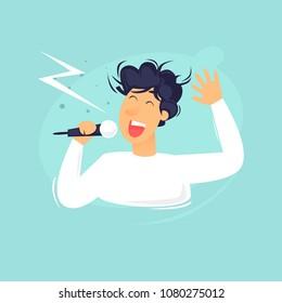 Karaoke, the man sings. Flat design vector illustration.