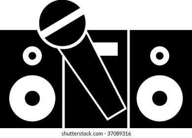 karaoke with microphone symbol