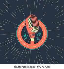 Karaoke music club, bar, audio record studio vector logo with microphone on vintage