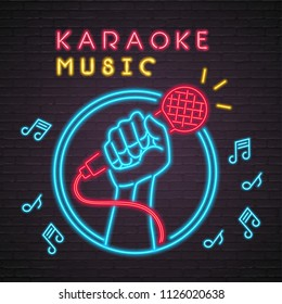 Karaoke Neon Light Glowing Music Note Illustration with Dark Background