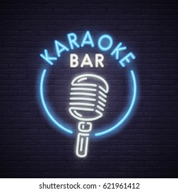 Karaoke neon sign. Neon sign, bright signboard, light banner.