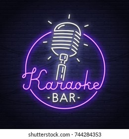 Karaoke neon sign. Neon sign. Karaoke logo, emblem and label. Bright signboard, light banner.