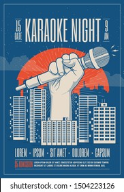 Karaoke night party event card, flyer, poster template with night cityscape and giant hand holding microphone. Vector illustration.