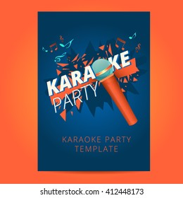 Karaoke Party Flyer With Microphone And Orange Particles On Blue Background, Poster,  Layout, Banner, Leaflet, Design A4