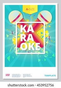 Karaoke party flyer or poster template design. Vector music event background