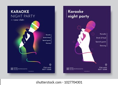 Karaoke Party Invitation Flyer Template. Silhouette Of Hand With Microphone  On An Abstract Dark Background